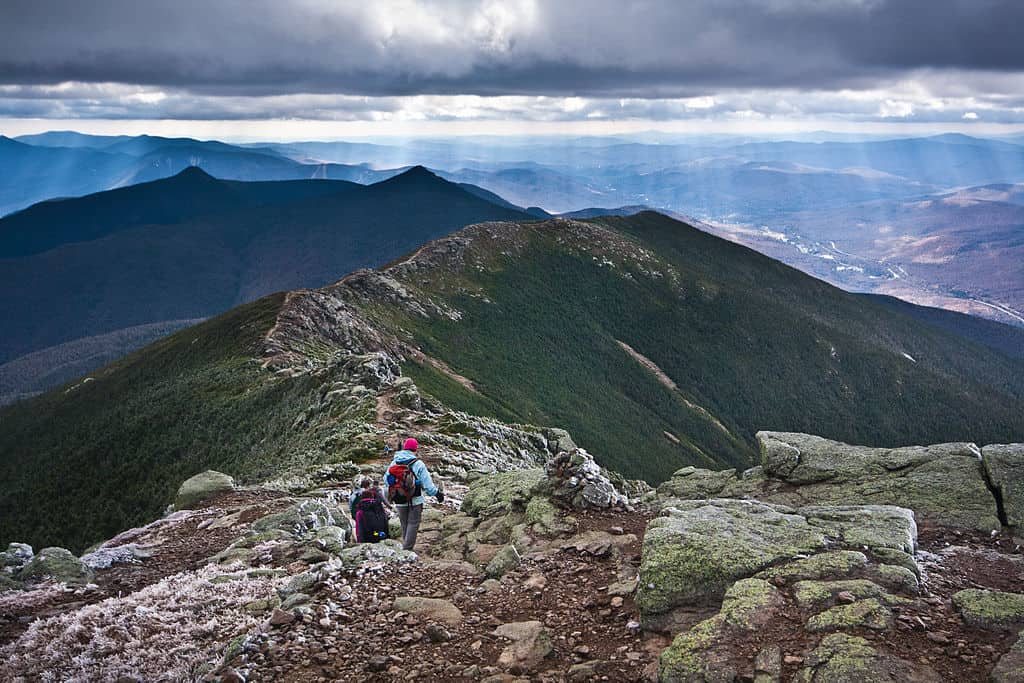 The Appalachian Trail along Franconia Ridge in New Hampshire