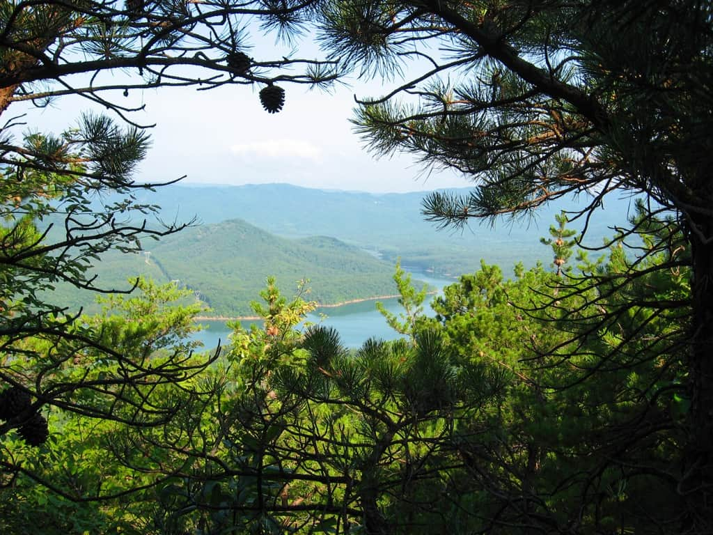 Carvin Cove Reservoir as viewed from Tinker Mountain