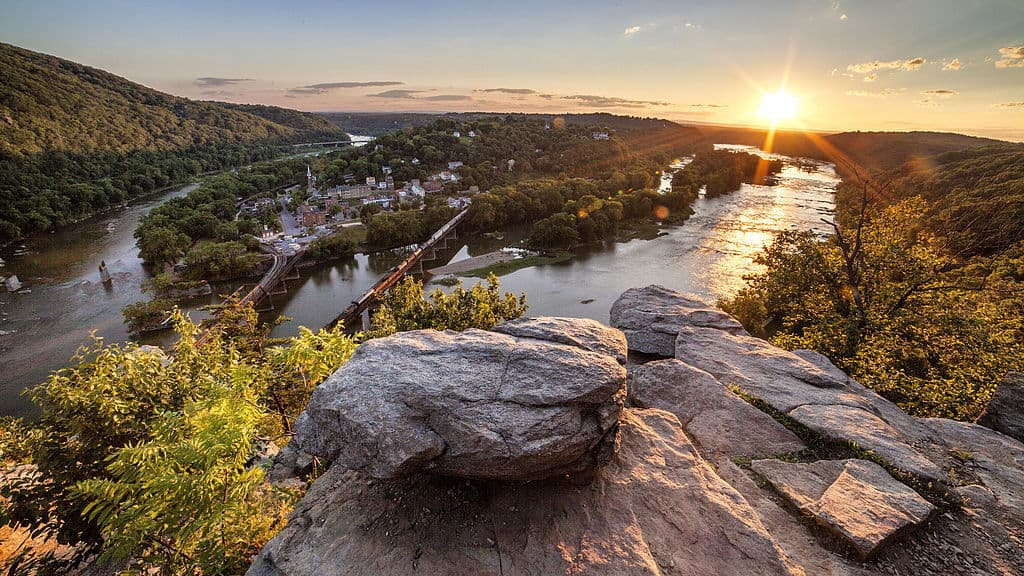 View of Harpers Ferry WV from Maryland Heights Overlook on the Appalachian Trail