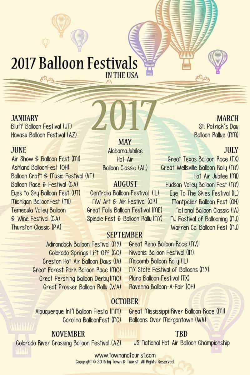 Balloon Festivals Calendar