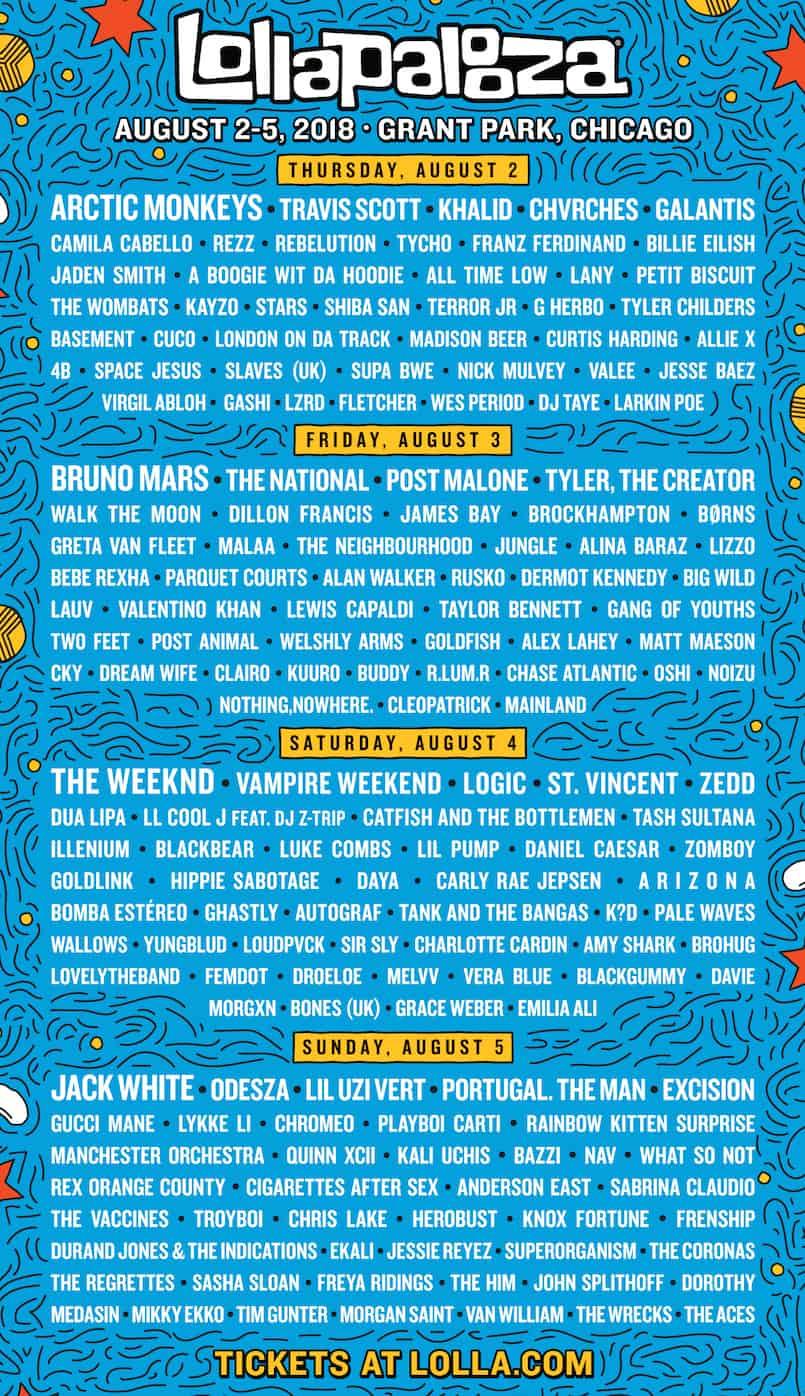 Lollapalooza 2018 Daily Lineup