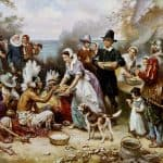 The First Thanksgiving, painted by Jean Leon Gerome Ferris (1863–1930). The First Thanksgiving took place in Plymouth in 1621.