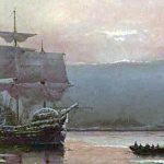 1882 depiction of the ship Mayflower sailing from England to America in 1620, in Plymouth Harbor