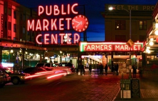 Pikes Place Market and Food Hall. Seattle, Washington, U.S.A