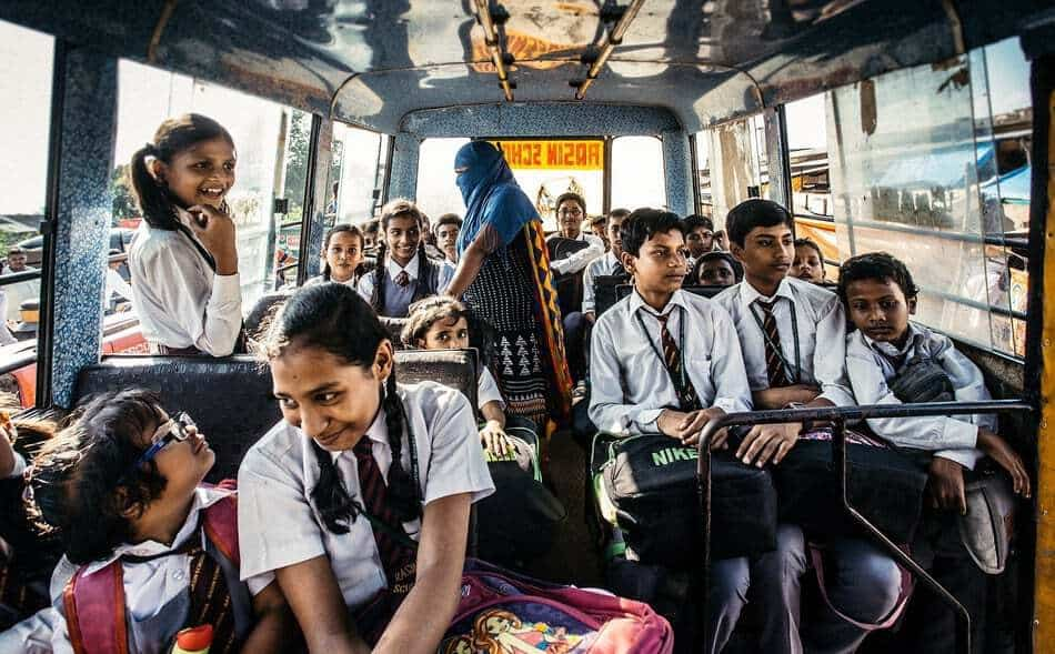 Do's and Don'ts Indian school bus, with kids. -