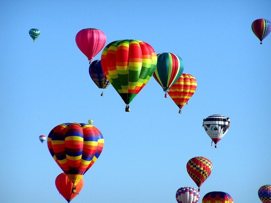 Dawn Patrol Hot Air Balloons at Albuquerque Balloon Festival, New Mexico, U.S.A