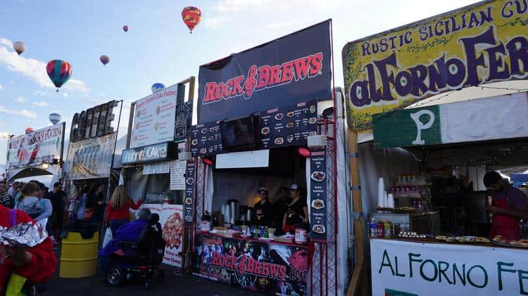 food and drink stalls at Albuquerque Balloon Festival, New Mexico, U.S.A
