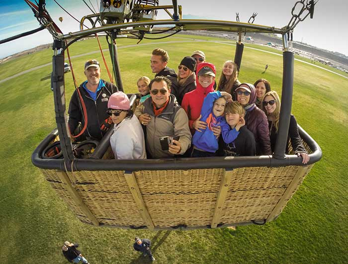 Group in Hot Air Balloon Gondala.