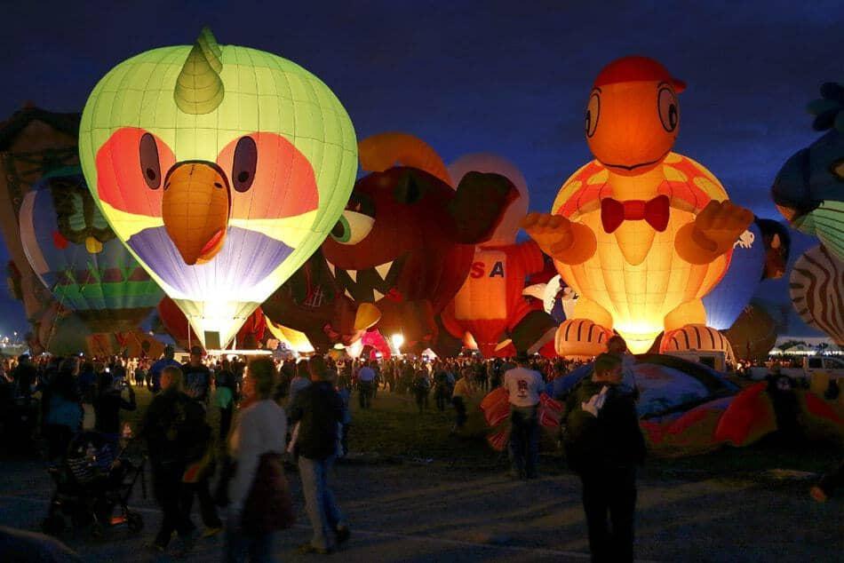 Hot Air Balloon Night Balloon Glow at Albuquerque Balloon Fiesta.