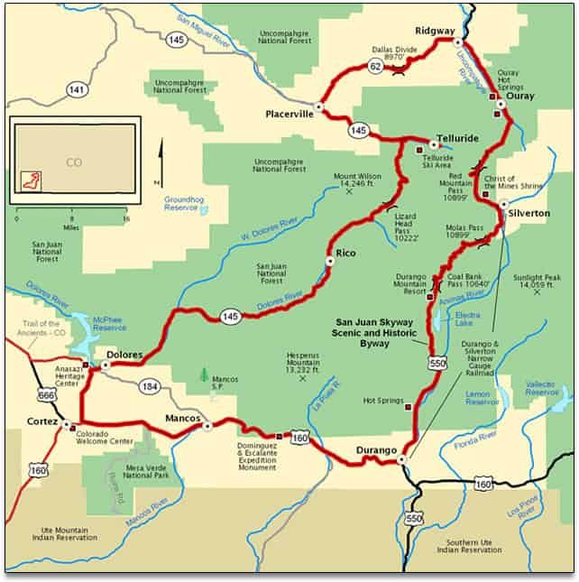 Map of San Juan Skyway. Best U.S Driving Roads, Motorcycle Routes.
