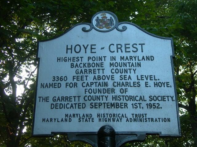 Hoye-Crest, Maryland. Highest Point in Maryland