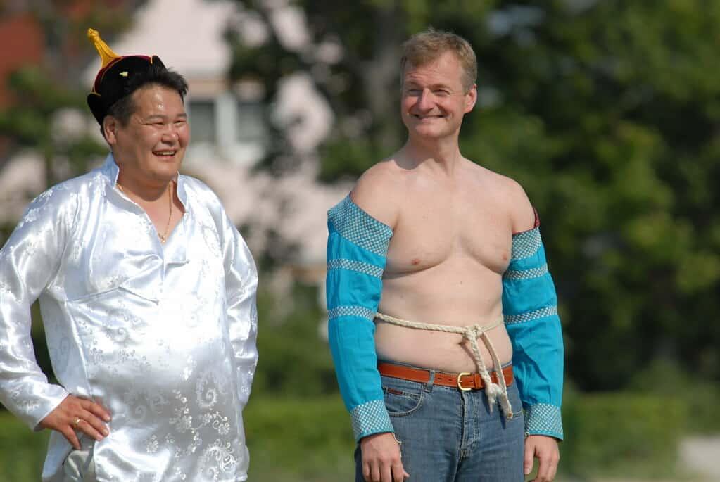 local mongolian wrestling naadam festival