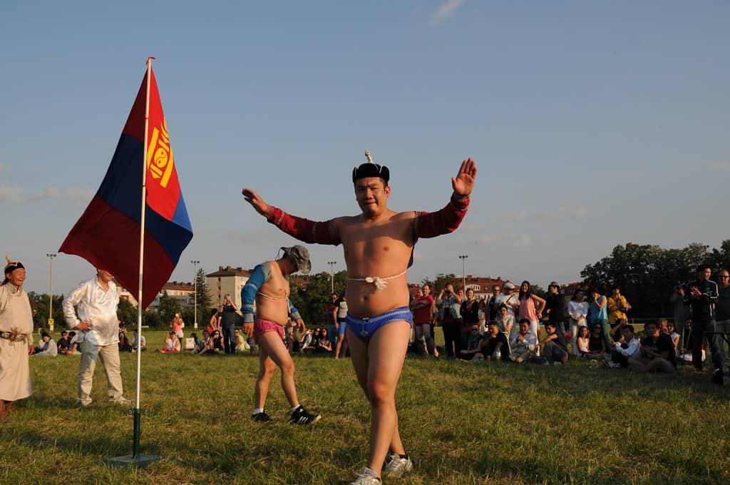 Local Mongolian wrestling at Naadam Festival