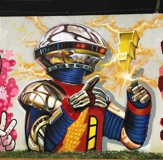 Avenue K robot street art, malaysia