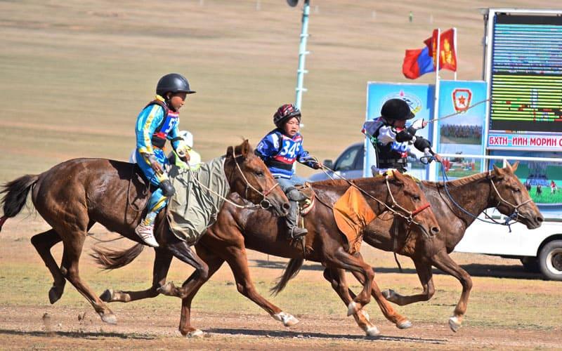 riding horses at Naadam Festival Mongolia