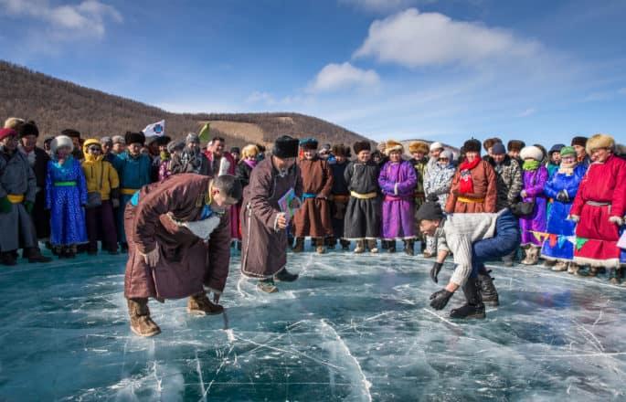 Mongolian Wrestling frozen lake Khuvsgul