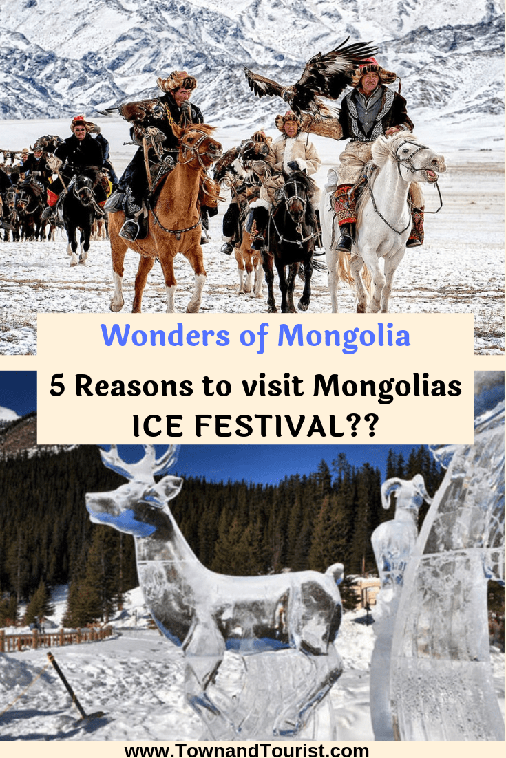 5 Reasons to travel to Mongolias Ice Festival! Set on a Frozen Khovsgol Lake, wearing their traditional Dresses & costume they take part in this historic cultural & unique winter festival annually!  The Mongolian People Create Ice Sculptures across the Landscape from Horses to Reindeer.  