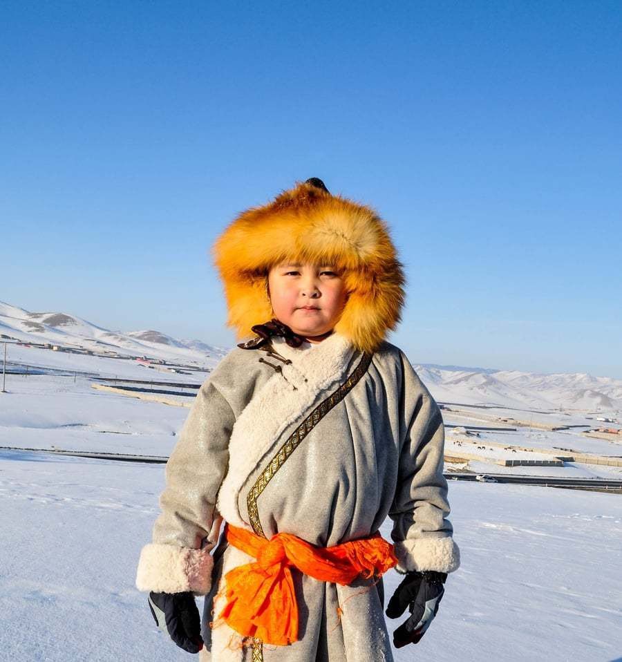 Mongolian Ice festival traditional costumes