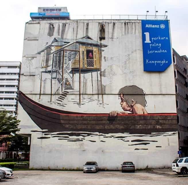 Boy in Canoe, Kuala Lumpur, Malaysia Street art