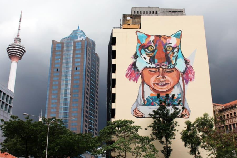 Tiger Boy with Tablet Street art, Kuala Lumpur, Malaysia.