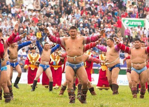 Naadam Festival Mongolia Wrestlers at Ulaanbaatar Stadium