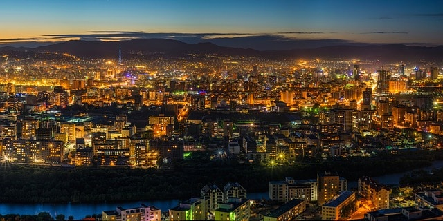 Ulaanbaatar by night. Mongolia