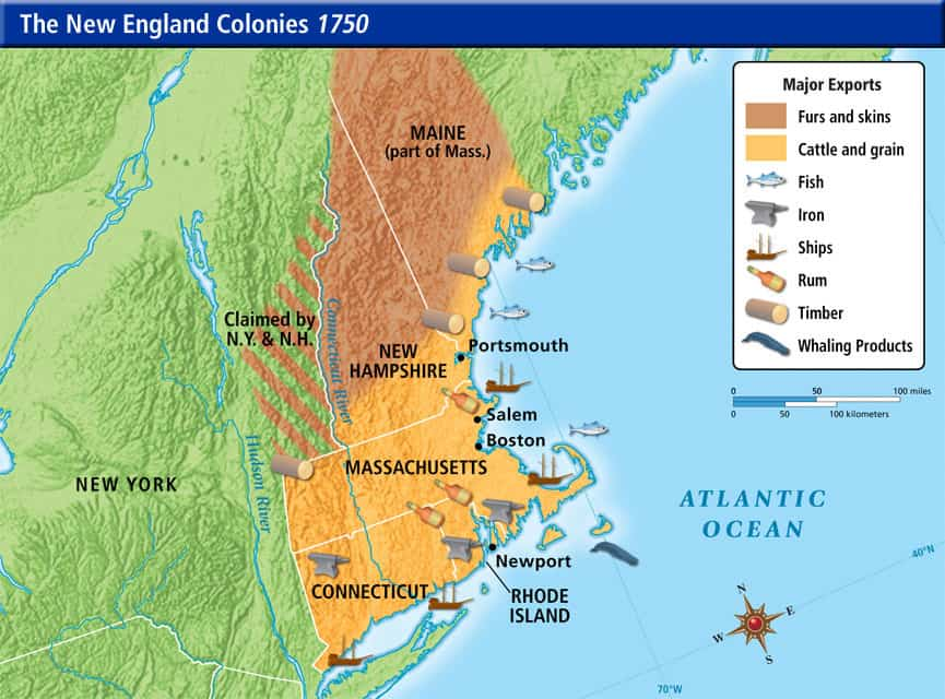 13 Colonies Regions and Resources Map.