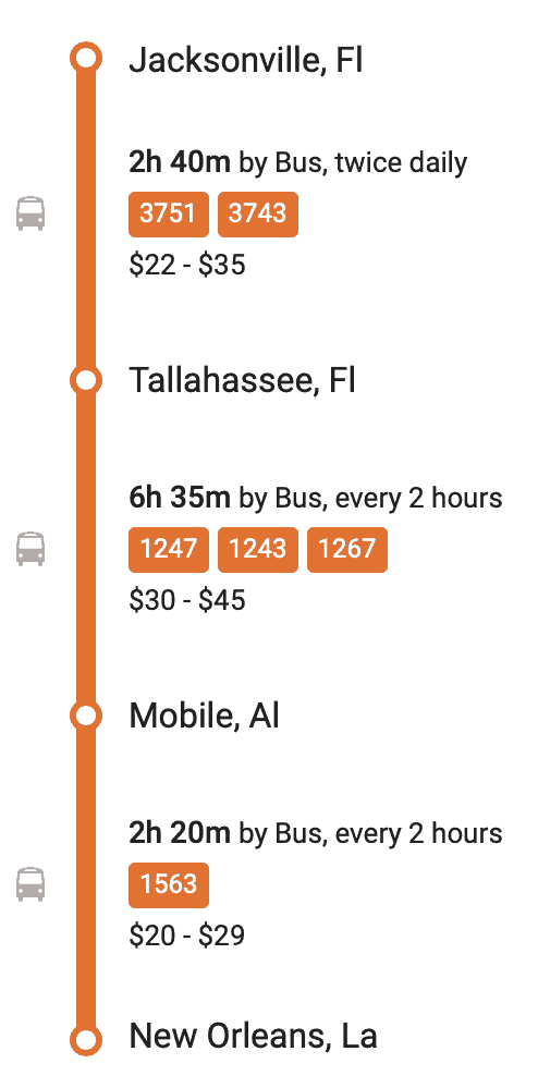 JACKSONVILLE TO NEW ORLEANS BUSES - BUS without Road Trip