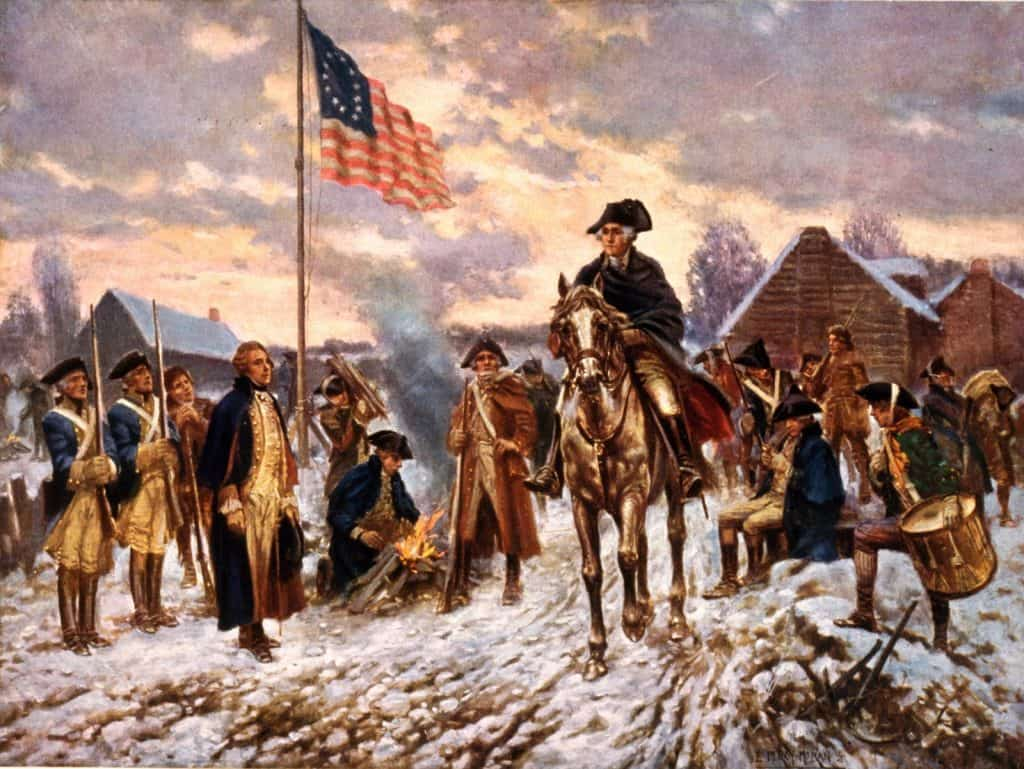 Washington at Valley Forge, American Revolution.