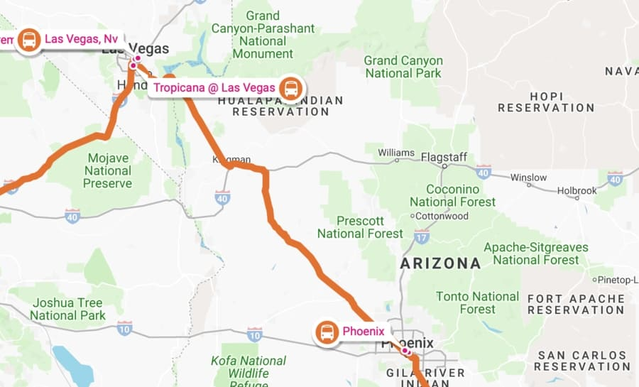 Public-Transport-Road-trip-LAs-Vegas