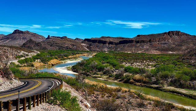 Rio GRande River Texas via Bus. Road Trip with Bus USA. Public Transport