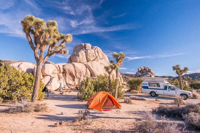 Camping at Joshua Tree, Ryan Campground.California Winter Camping USA