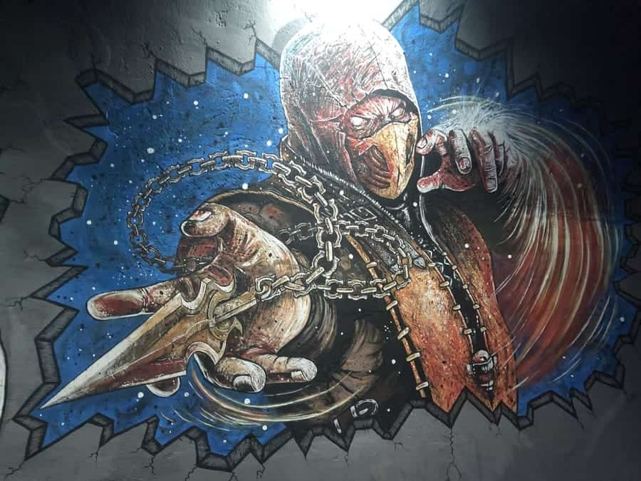 Comic Club Prague Sub Zero Street Art-Scorpian-Mortal-Combat-Graffiti-1