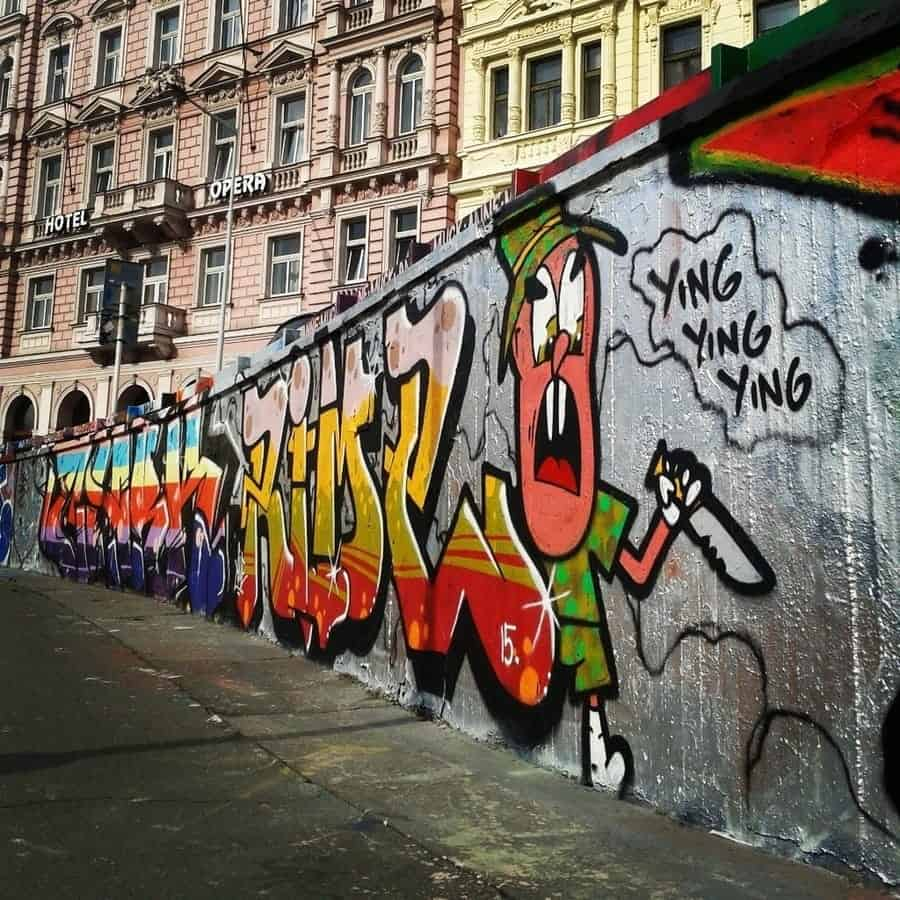 Prague Street Art:Graffiti Wall 1-Tesnov