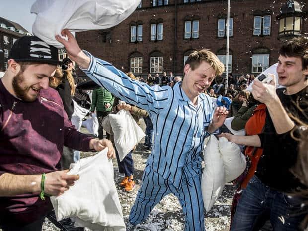 International Pillow fight day Copenhagen.
