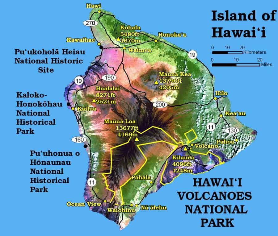 Hawaii Big Island Volcano Map
