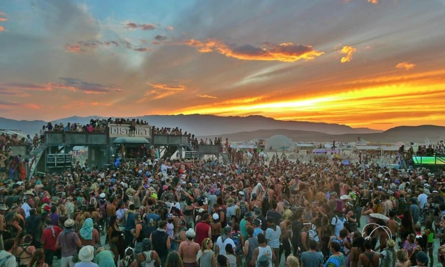 Sunset over burning man set