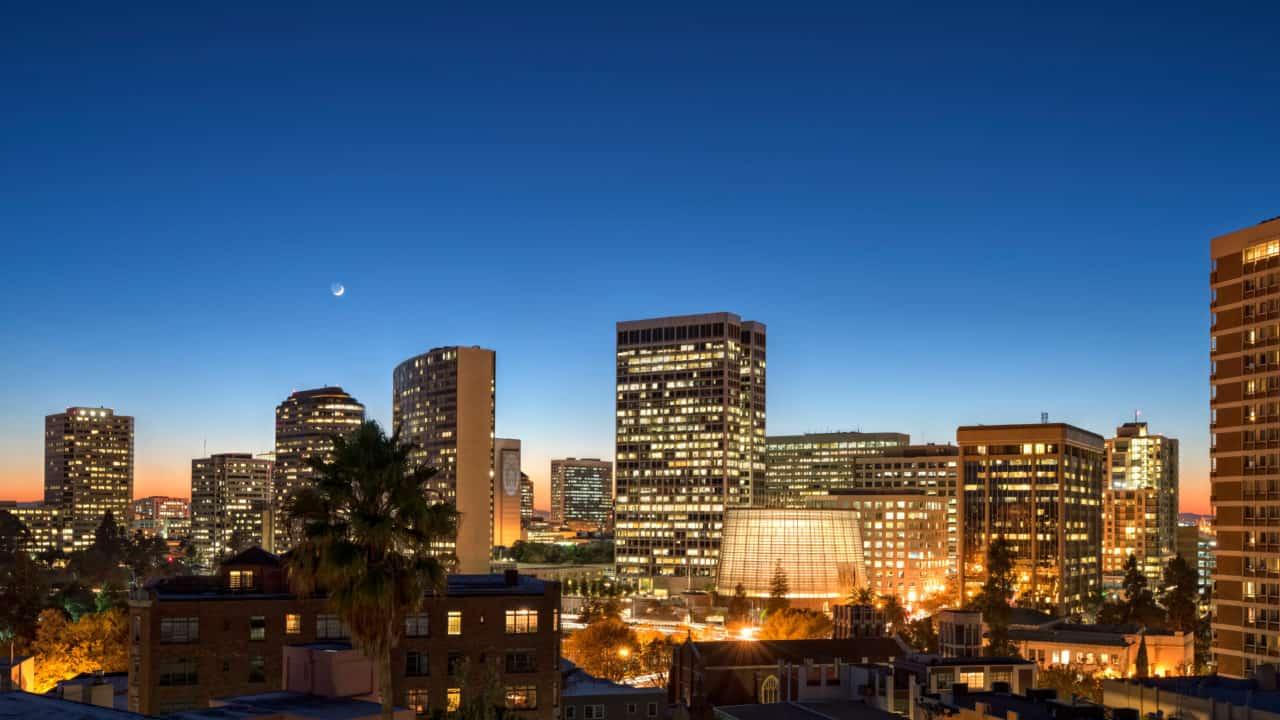Skyline at dusk, Oakland, Alameda County, California, USA