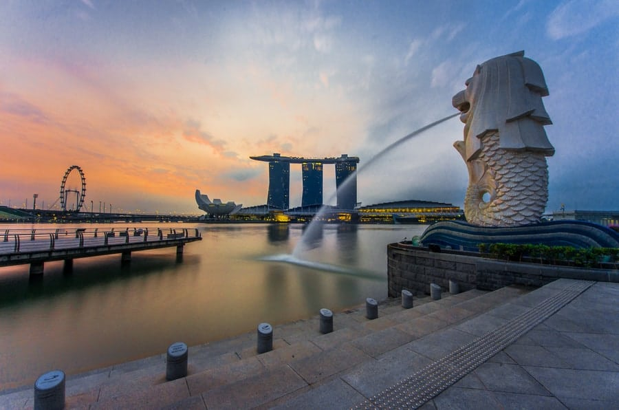 Singapore Merlion Statue Sunset