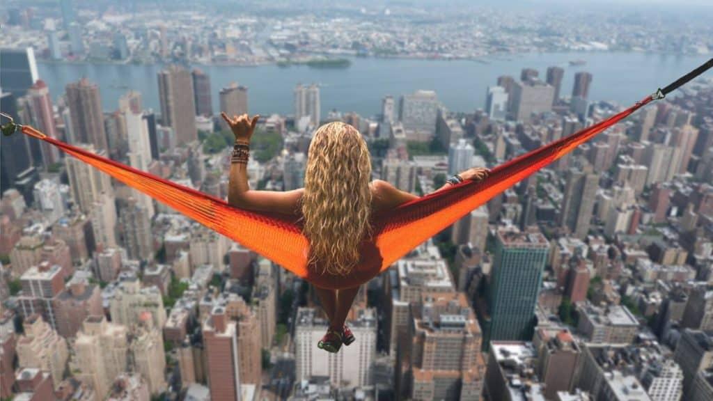 new york road trip hammock girl