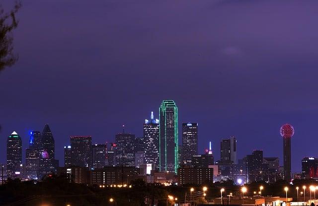 Dallas Texas Nighttime reunion tower is lit!